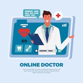 Consulta de médico e paciente de aplicativo on-line