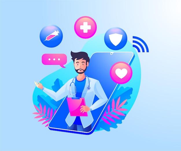 Consulta de saúde online com médicos e um smartphone móvel