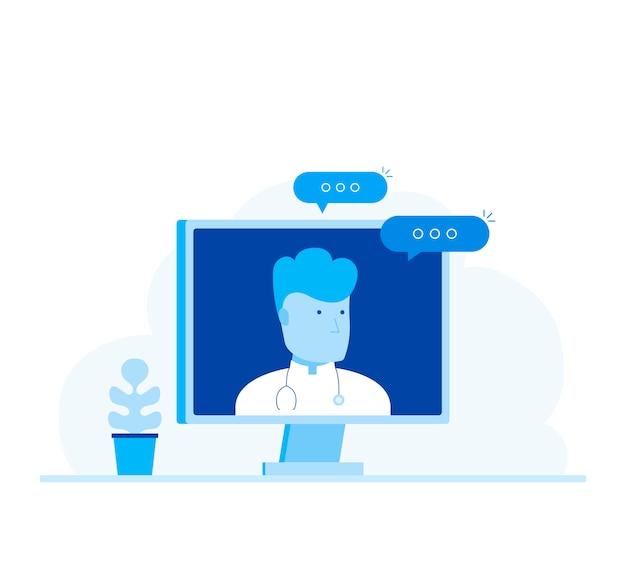 Consulta e suporte médico on-line.