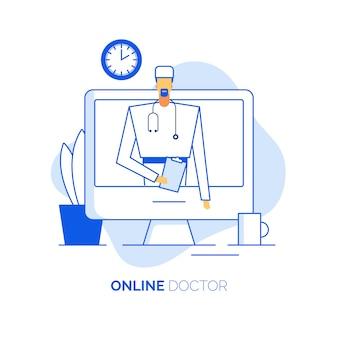 Consulta em linha do médico da saúde
