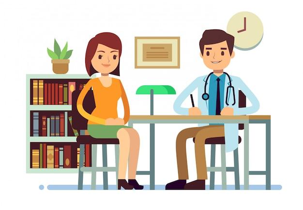 Consulta médica com médico e jovem mulher paciente vector medicina plana conceito