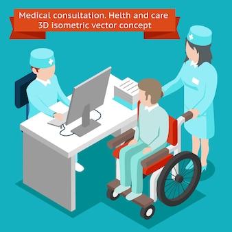 Consulta médica. conceito isométrico 3d de cuidados de saúde. cuidados de saúde e paciente, profissional de hospital, clínica