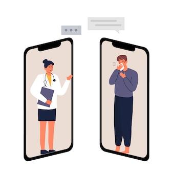 Consulta médica e ilustração de consulta on-line