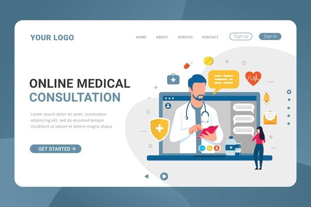 Consulta médica on-line do modelo da página de destino na tela do laptop
