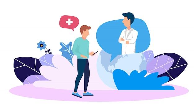Consulta médica on line e serviço de ajuda de emergência