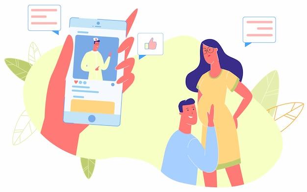 Consulta médica on-line, gravidez, bebê nascido