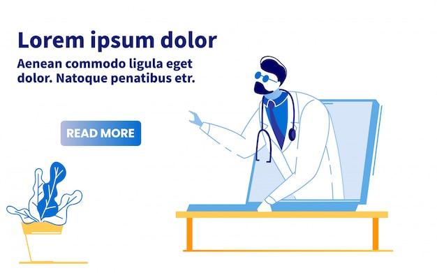 Consulta médica on-line pessoal banner plana