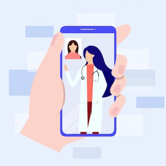 Consulta médica online através do seu conceito de smartphone.