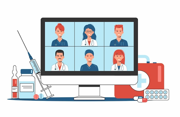 Consulta médica online e conceito de suporte, serviços de saúde, grupo de médicos teleconferência com estetoscópio na tela do computador, videochamada em conferência, novo normal, ilustração plana