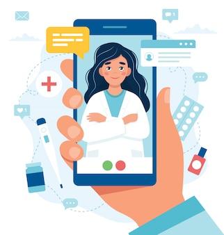Consulta médica online. médica na tela do smartphone.
