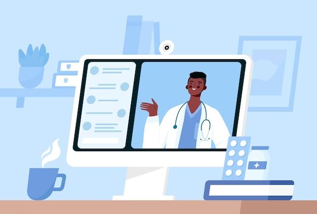 Consulta médica online, suporte. médico online. serviços de saúde. ilustração