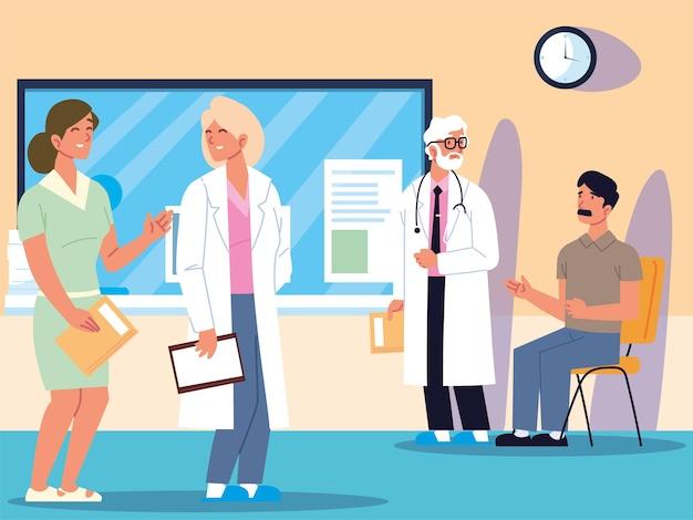 Consulta médico e pacientes