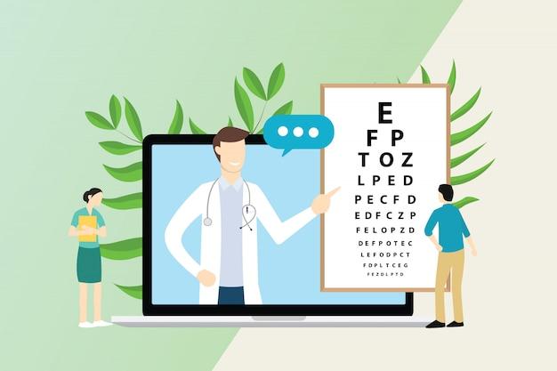 Consulta oftalmologista com médico e paciente