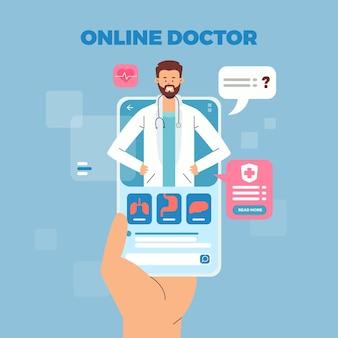 Consulta on-line de médico e paciente