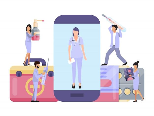 Consulta online de médicos, assistência médica e suporte médico via aplicativo de serviço para smartphone