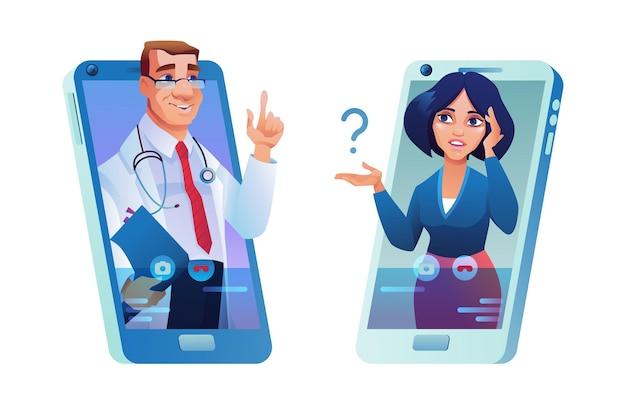 Consulta online via smartphone médico e paciente mulher