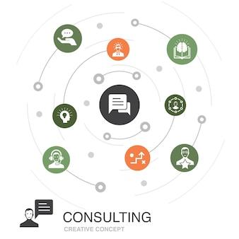 Consultando o conceito de círculo colorido com ícones simples. contém elementos como especialista, conhecimento, experiência, consultor