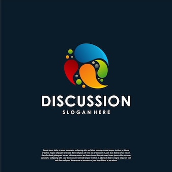 Consultar logotipo, modelo de logotipo colorido da consultoria, designs de logotipo colorido de bolhas de bate-papo