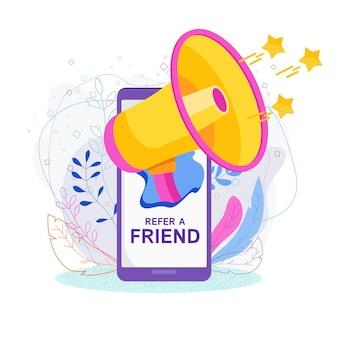 Consulte um conceito de amigo. convite por programa de referência.