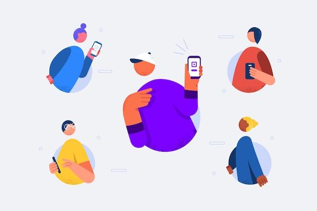 Consulte um conceito de amigo em design plano