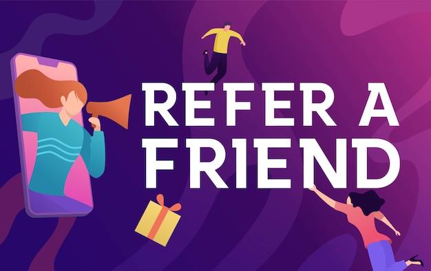 Consulte um conceito de ilustração vetorial de amigo, as pessoas gritam no megafone com se referir a uma palavra de amigo