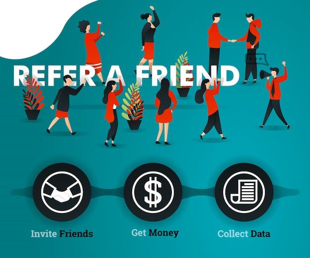 Consulte um conceito verde de página de destino de amigos