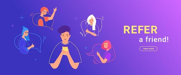 Consulte uma ilustração em vetor gradiente amigo de um adolescente feliz usando o smartphone para convidar seus amigos para a comunidade ou as mídias sociais. jovens adolescentes nos balões de fala gesticulando e felizes em participar