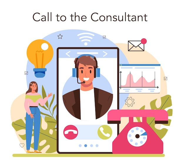 Consultor de serviço online ou especialista em plataforma fazendo pesquisas