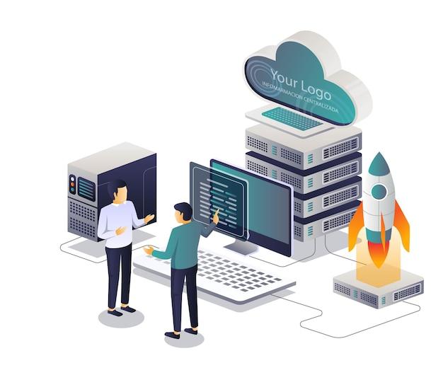 Consultor e treinamento isométrico de servidor de nuvem