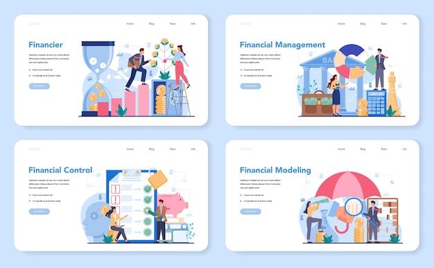 Consultor financeiro ou banner da web de financiador ou conjunto de páginas de destino.