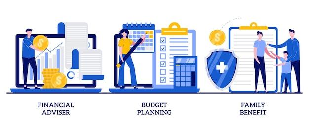 Consultor financeiro, planejamento de orçamento, conceito de benefício familiar com ilustração de pessoas pequenas