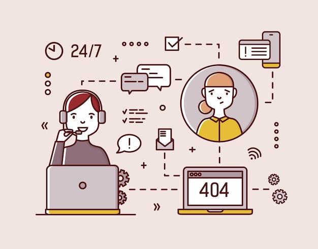 Consultor on-line sorridente, usando fones de ouvido e microfones, sentado em frente ao computador e atendendo chamadas de clientes