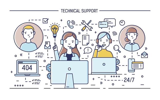 Consultores on-line felizes usando fones de ouvido com microfones, sentados em frente aos computadores e respondendo às perguntas dos clientes.