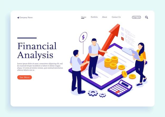 Consultoria de conceito de administração financeira para análise de desempenho de empresa conceito isométrico