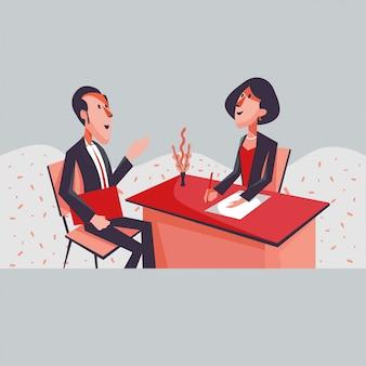 Consultoria de homem e mulher no escritório dos desenhos animados de estilo simples