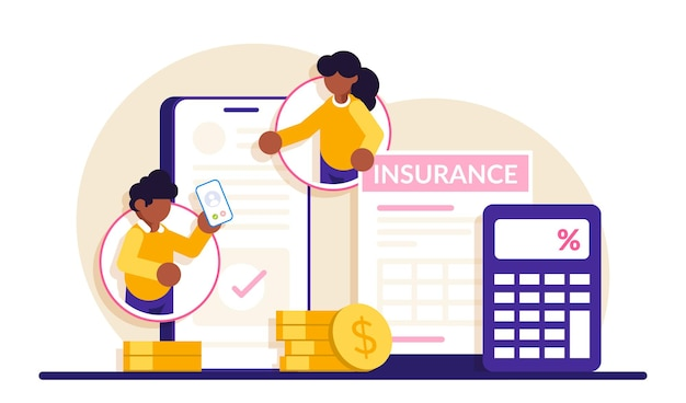 Consultoria de seguros móveis. as pessoas se comunicam via celular e discutem o contrato de seguro.