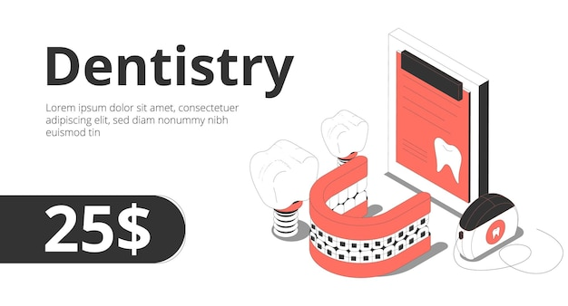 Consultoria em serviço ortodôntico odontológico oferece composição isométrica com registro de paciente odontológico implante de fio dental banner