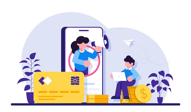Consultoria financeira ou bancária por meio de ilustração de telefone celular
