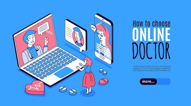 Consultoria médico online banner horizontal 3d isométrico