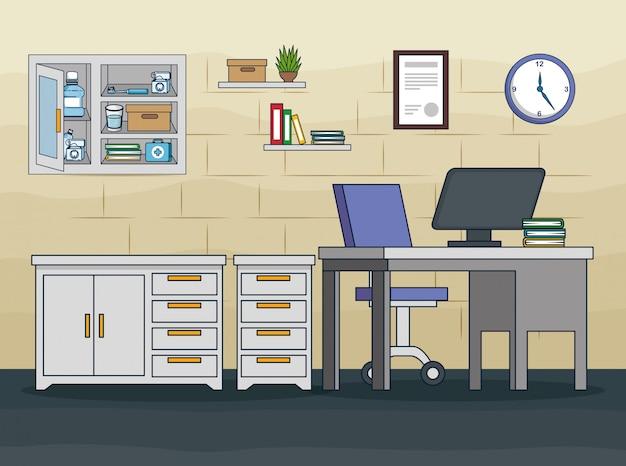 Consultório de dentista com equipamento e tratamento de medicamentos