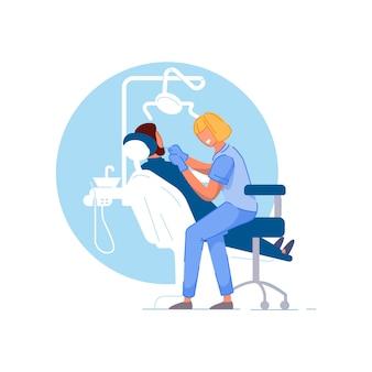 Consultório de dentista. médico estomatologista mulher