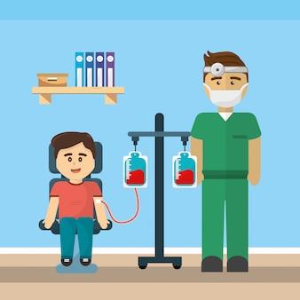 Consultório médico e doação de sangue
