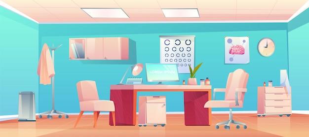 Consultório médico terapeuta com material e equipamentos