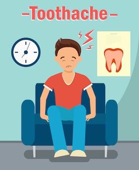Consultório odontológico, conceito de web de dor de dente
