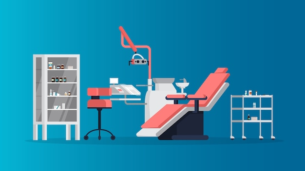 Consultório odontológico no interior da clínica. equipamentos diversos para dentista. ideia de saúde e higiene dentária. consultório dentista. ilustração