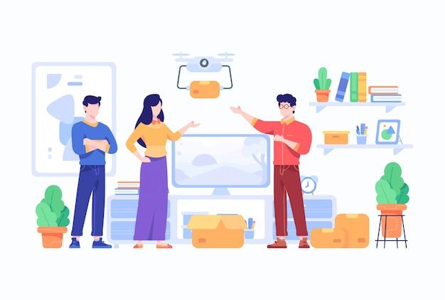 Consumidor recebe e descompacta pacote do mercado de comércio eletrônico