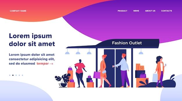 Consumidores caminhando pela rua perto de ilustração plana de loja de roupas
