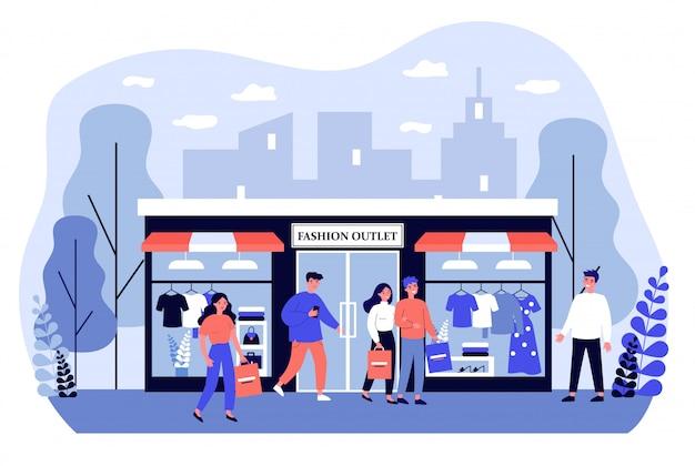 Consumidores de compras na ilustração de boutique de vestuário