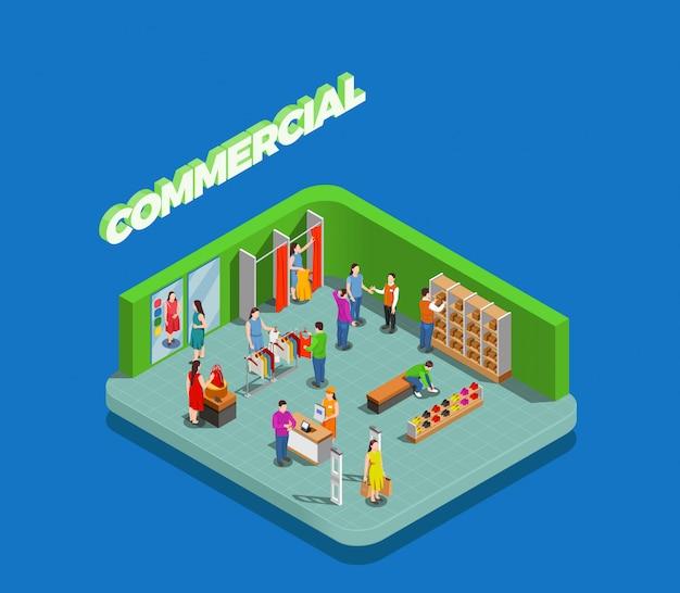 Consumidores durante as compras na loja de roupas e sapatos