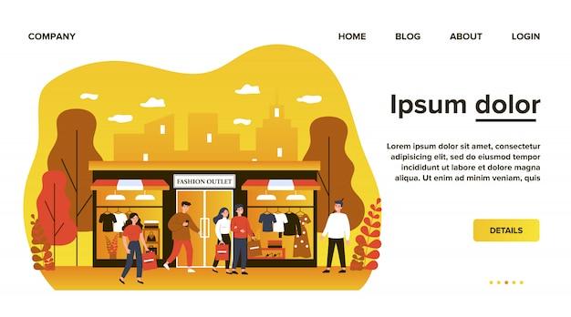 Consumidores fazendo compras em ilustração plana de boutique de vestuário. pessoas felizes andando na rua da cidade perto de loja de moda, shopping ou loja. conceito de varejo e outlet de moda